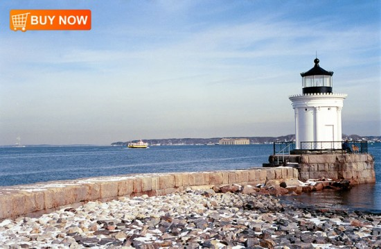Bug Light with Fort Gorges and Ferry