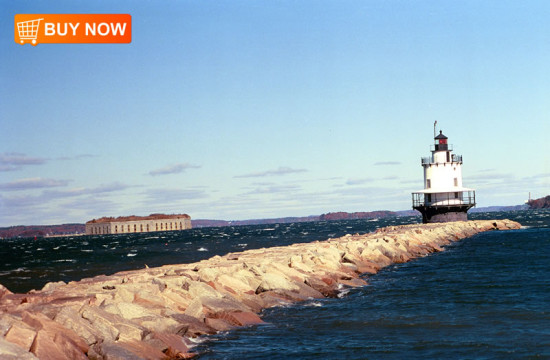 Spring Point Light with Fort Gorges