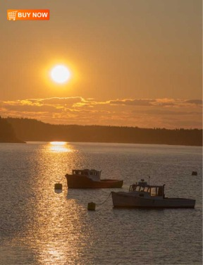 Sunset with Lobster Boats