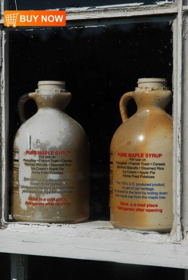 Maple Syrup Containers in Window